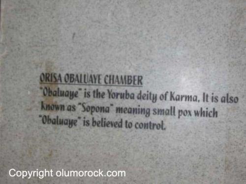 Plaque: Orisa Obaluaye Chamber