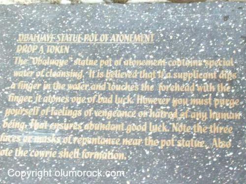 Rock imprint: Obaluaye statue pot of atonement
